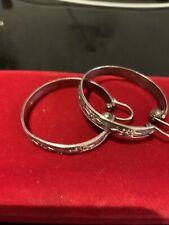 Vintage Silver 925  Hoop Earrings Large Wide Patterned  Band U.K. P/p Inc 4mm