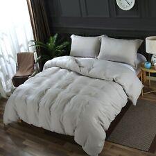 Light Gray Set: Washed Microfiber Duvet Cover Set+Size-Matching White Comforter