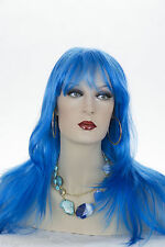 Blue Blonde Long Skin Top Straight Wigs
