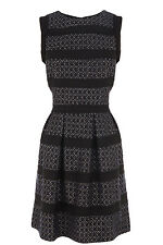 WAREHOUSE CHIFFON & BOUCLE STRIPE SHIFT DRESS 16