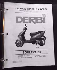GENUINE 2002 DERBI BOULEVARD SCOOTER MOTORCYCLE PARTS CATALOG MANUAL VERY GOOD
