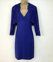 Adrianna Pappel Dress UK Size 8 Shift Royal Blue Bolero & Dress Lace RRP $200