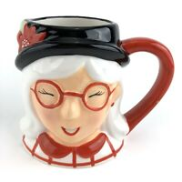Threshold Ceramic Coffee Mug Cup Smiling Grandmother with Glasses Red & White