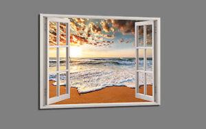 Bilder Leinwandbild Wandbild Fenster Blick Strand Bild 5006