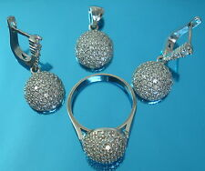 New Solid 925 Sterling Silver Cz Set Earrings Pendant Ring Size P Jewellery