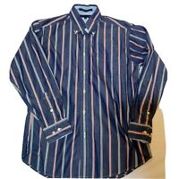 Tommy Hilfiger Shirt Mens Size Med Long Sleeve Button Down Cotton Navy/R Striped