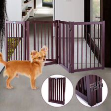 30'' 4 Panel Configurable Dog Gate Fence Indoor Folding Openable Portable Wood