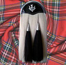 Handmade Sporran Original White Long Horse Hair Sporran with Two Black Tassels