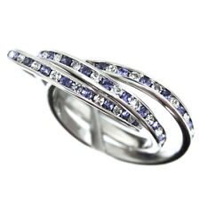 Triple Silver Rhodium Plated Ladies Eternity Ring Clear Blue Stones Size 7