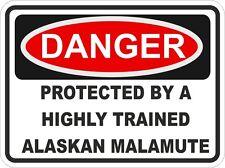 Dog Breed ALASKAN MALAMUTE Danger Sticker Pet for Bumper Car Truck Locker