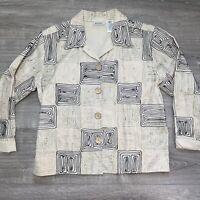 Vintage Units Women's Light Embroidery Blazer Jacket Size Large Retro