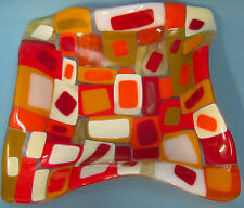 Art Glass Mosaics Candy Coin Dish Red Orange Gold Square 7""