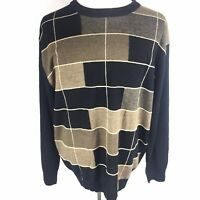 Pronto Uomo Mens Sweater Sz XXL 2XL Black Geometric Long Sleeve Wool Blend Euc