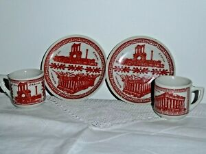 2 Demitasse Size Cups & Plates Made In Greece by N Leontaritis Parthenon L Arc