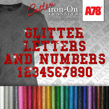 Custom Glitter Letters & Numbers Iron On transfer Hotfix Motif T-shirt Stickers