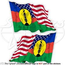 USA United States America-NEW CALEDONIA Kanak Flying Flag 75mm Sticker Decal x2