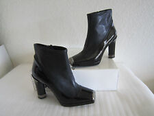 Jill Stuart Black Leather/Patent Cap Toe High Heel Booties Sz 6.5 $595+tax