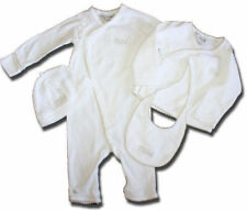 White Size 0 BEBE by MINIHAHA White & Taupe SUIT Matinee Jacket BEANIE Bib SET