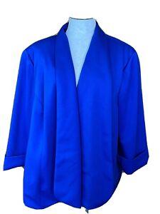 NWT KASPER SUIT JACKET BLUE LINED WOMEN'S SIZE 24W Plus Career 3/4 Sleeves