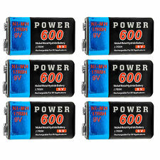 6 pcs 9V 9Volt 600mAh Ni-MH 6F22 PP3 17R8H Rechargeable Battery Power US Stock