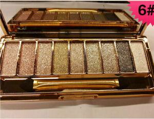 Make Up Eye Shadow Diamond Palette Glitter 9 Colour Waterproof Golden Alloy Case