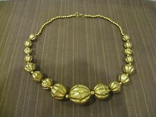 VINTAGE SOLID BRASS HOLLOW BALL BEAD NECKLACE GRADUATE AND STRAND STYLE
