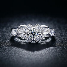 Rare Vintage Design 14K White Gold Over 2CT Round Diamond Engagement Wedds Ring