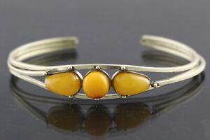 Vintage Antique Egg Yolk Genuine BALTIC AMBER Bangle Bracelet 15.1g 201201-4