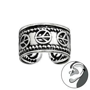 925 Sterling Silver Peace Symbol Rope Ear Cuff Non Piercing 10mm Unisex Earring