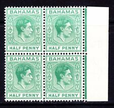 BAHAMAS 1938 SG149 ½d GREEN MNH MARGINAL BLOCK OF FOUR