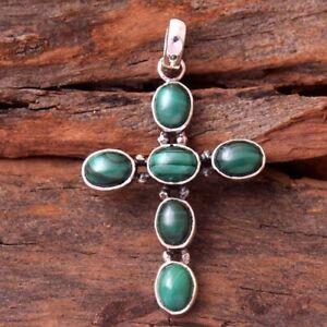 "Malachite Gemstone 925 sterling Silver Jewelry Handmade Cross Pendant 2"""
