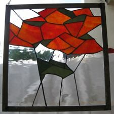 "Stained Glass Window Panel Suncatcher / ""Geometric Red Poppies"""""