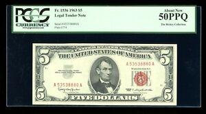 DBR 1963 $5 Legal Fr. 1536 PCGS AU-50 PPQ Serial A53538880A