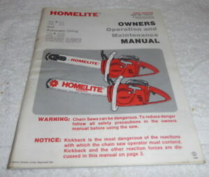 Vintage chainsaw Instruction book for Homelite XL 12, and XL AO dated 1980
