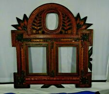 """WWI Commerative Tramp Art Wood Triple Frame """"In Memory of the Great European War"""