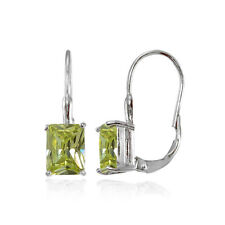 Sterling Silver Emerald-Cut Light Green Cubic Zirconia Leverback Earrings
