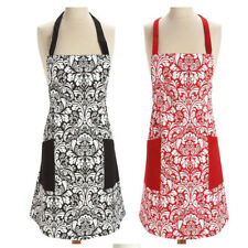 Woman Bibs Home Kitchen Cooking Aprons European Flower Pattern Linen Apron GS1