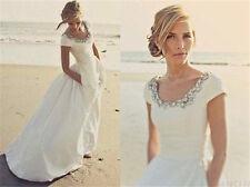 Custom Cap Sleeve Scoop Neck Satin Beach Wedding Dresses Boho Long Bridal Gowns
