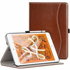 iPad Mini 5 Case Premium PU Leather Folio Cover Card Slot Auto Wake Sleep Brown