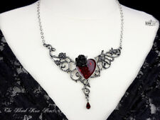 Ladies Necklace Alchemy Gothic Pendant The Blood Rose Heart Pewter Red Crystal