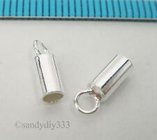 10x STERLING SILVER BRIGHT PLAIN 2.5mm LEATHER END CAP #2476