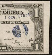 1935 E $1 SILVER CERTIFICATE DRAMATIC GUTTER FOLD ERROR 3RD PRINTING SC BILL ONE