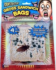 GROSS SANDWICH BAGS 4 Pack Lunch Prank Joke Cockroach Set Plastic Dead Bug Moldy