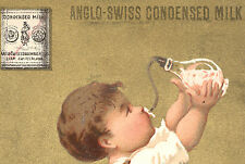ANGLO-SWISS CONDENSED MILK TRADE CARD, BABY, BABY BOTTLE & WOODEN WALKER  TC2287