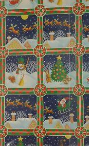 VTG Hallmark Christmas Gift Wrapping Paper Santa Reindeer Snowman Squirrel Blue