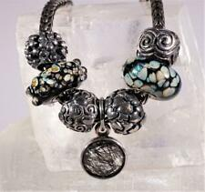 Sterling Silver LAA Trollbead Necklace with 7 Charms & Clasp