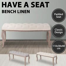 vidaXL Solid Wood Bench Linen Fabric Foot Stool Ottoman Cream White/Light Grey