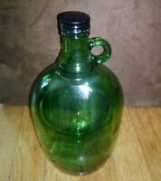 Green Glass Half Gallon Jug with Finger Handle and Screw-Top lid. Vintage Bottle