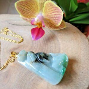 Men Women Jadeite Pendant Necklace Landscape Carve Burma 3 Colors Jade Pendant