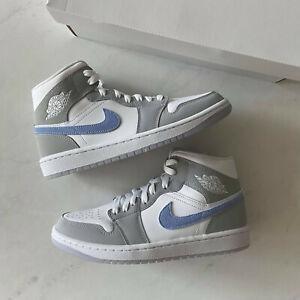 Nike Jordan 1 Mid Wolf Grey Blue (W) BQ6472-105 Brand New Size 6.5W - 12W